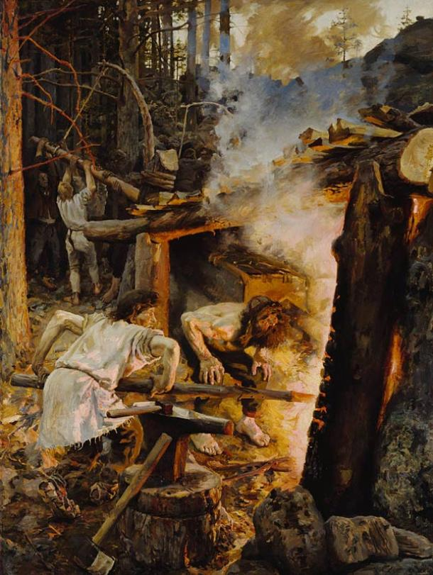 The Forging of the Sampo. Painting by Akseli Gallen-Kallela, depicting a scene from Kalevala, a Finnish epic poem. Smith Ilmarinen is forging the magical mill called Sampo, a centerpiece in many of Kalevala's stories.