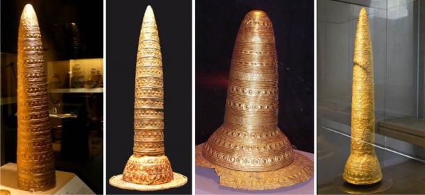 The Four Gold Hats. From Left to Right: Vienne, France (1844); Southern Germany or Switzerland (1996); Schifferstadt, Germany (1835)