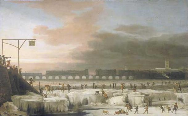 The Frozen Thames (1677) by Abraham Hondius.