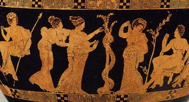 The Garden of the Hesperides depicted on the lower panel of a red-figured hydria from about 410 BC. (Author provided)