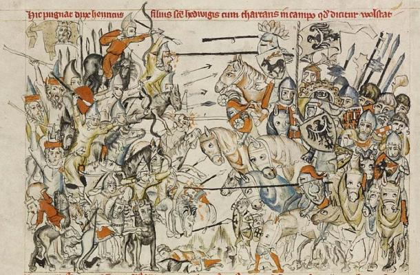 The Golden Horde at the Battle of Legnica (legnitz) 1241. From 'Legend of Saint Hedwig'. (Public Domain)