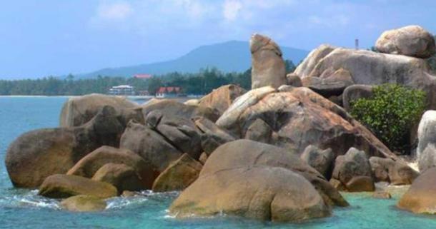 The Grandpa (Ta) rock formation in Thailand
