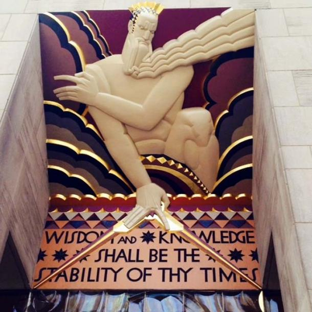 The Great Architect of the Universe (G.A.O.T.U.) above the entrance to the Rockefeller building in New York, shows the creator within the Abyss, as described in the biblical verse Isaiah 33:6.