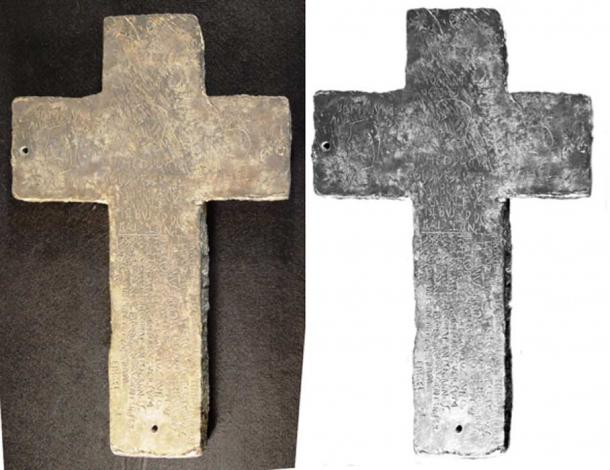'The Great Cross'. This is the larger half of a cast lead joined cross with gold infill inscriptions. 45-46 cm tall, 30cm wide, 3.2 cm thick. Letter about 1 cm high. Weight, 43lbs. 1 oz. Catalog #94.26.1A (Image: The Tucson Artifacts. Photograph by Robert C. Hyde. © Donald N. Yates, 2013. All rights reserved. Used by special permission.)