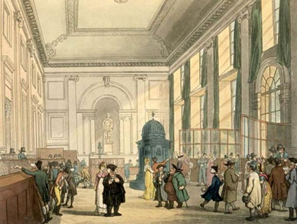 The Great Hall of the Bank of England (1808). (Public Domain)