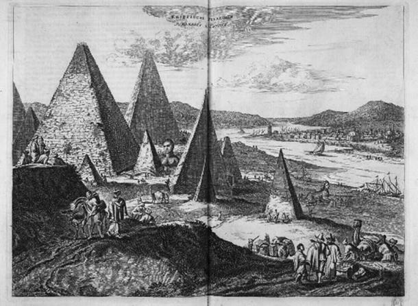Големият сфинкс в Гиза в Олферт Дапър, Описание де l'Afrique (1665) - отбележете изображението на два сфинкса (публично достояние)