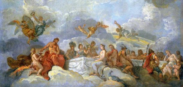 The Greek Gods of Olympus. 'The Induction of Ganymede in Olympus' by Charles Amédée Philippe van Loo