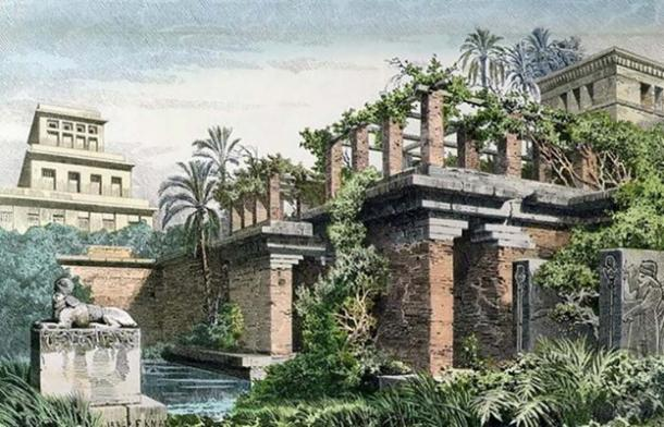 The Hanging Gardens of Babylon, painting by Ferdinand Knab. (Public Domain)
