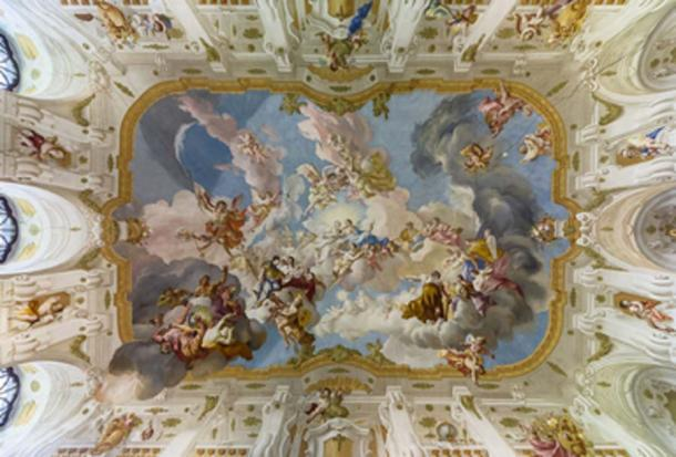 The Harmony between Religion and Science, a ceiling fresco from 1735, located at Seitenstetten Abbey. (Uoaei1 / CC BY-SA 4.0)