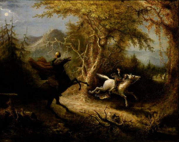 The Headless Horseman Pursuing Ichabod Crane, painting by John Quidor (1858). (Public Domain)