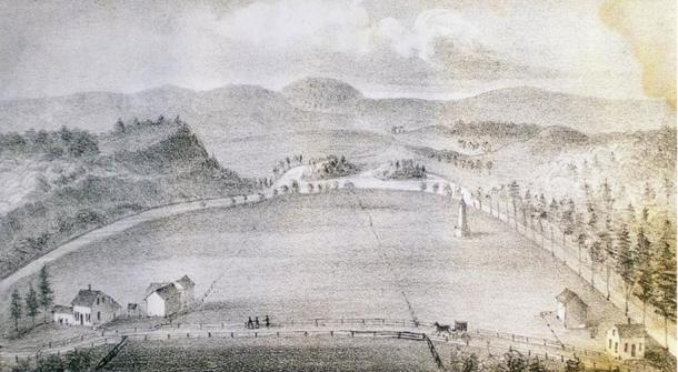 Illustration in 'The History of Norridgewock' by William Allen, of Norridgewock, Maine. 1849.