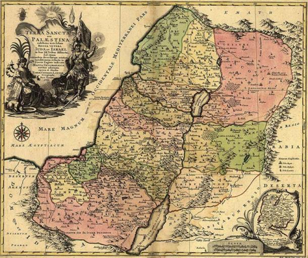 A 1759 map entitled The Holy Land.