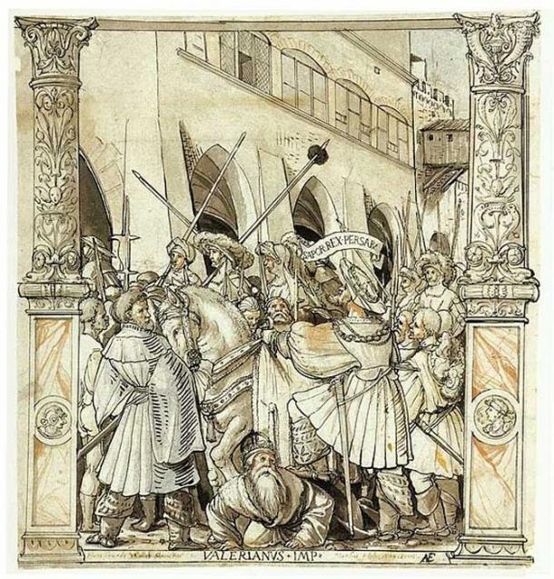 'The Humiliation of Emperor Valerian by Shapur I', pen and ink, Hans Holbein the Younger, ca. 1521. At the time it was made, the above rock-face relief was unknown in the west. (Public Domain)