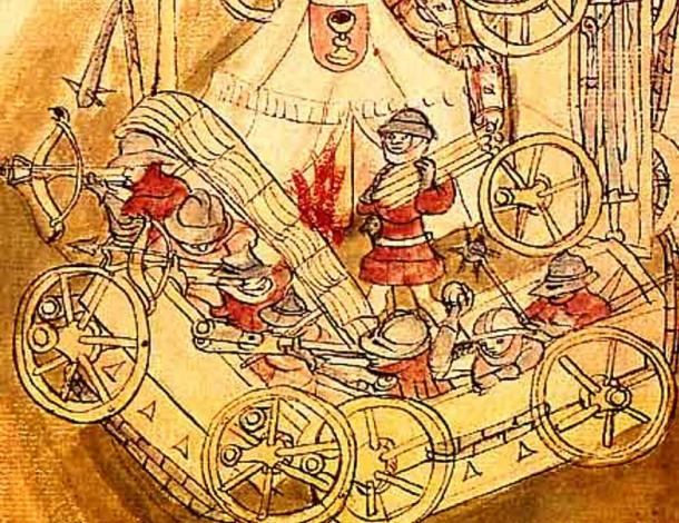 The Hussite Wagenburg. Several of these wheeled wagon forts could be arranged into a rectangle or circle to form a temporary or improvised military camp