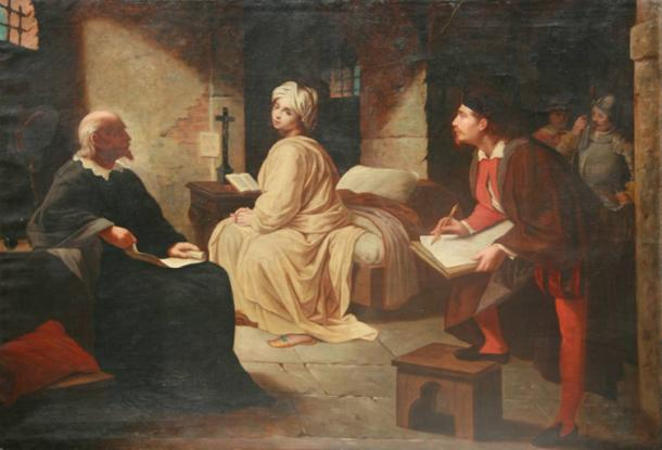 Painting, The Imprisonment of Beatrice Cenci, based on the legend. 19th century.