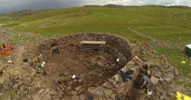 The Iron Age roundhouse at Clachtoll broch in Assynt, Scotland.