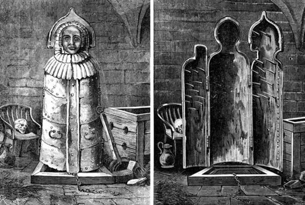 The Iron Maiden of Nuremberg, vintage engraving. (Morphart / Adobe)
