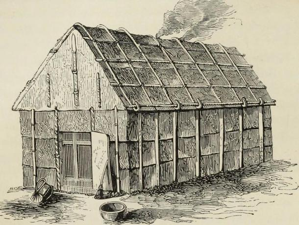 The Iroquois called themselves the  Haudenosaunee, or People of the Longhouse. A traditional longhouse, which had apartment-like divisions in it for nuclear families. (The Commons)