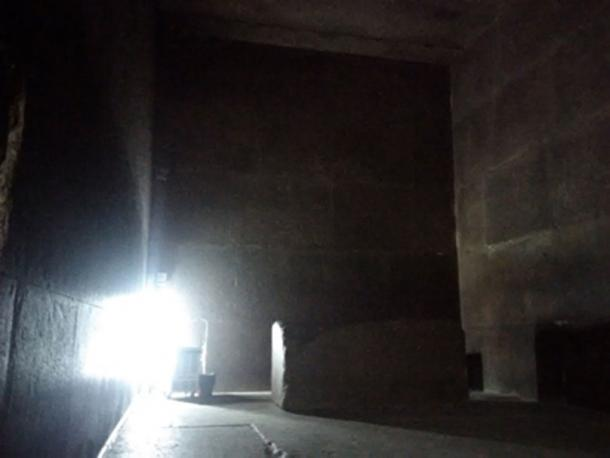 The King's Chamber inside the Great Pyramid, showing its red granite sarcophagus. (Image: Andrew Collins)