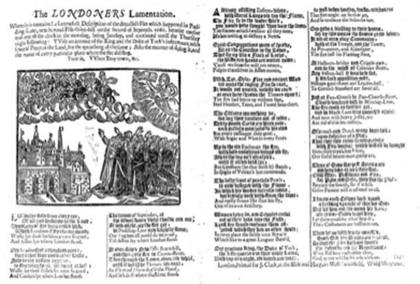 The LONDONERS Lamentation, a broadside ballad published in 1666 giving an account of the Great Fire of London, and of the limits of its destruction. (Ycdkwm / Pubic Domain)
