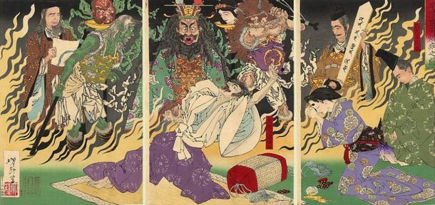 The Land of Yomi and Enma, the King of Hell. Tsukioka Yoshitoshi, The Fever, 1883.