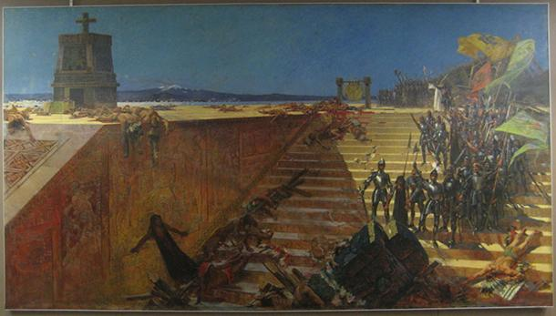 """The Last Days of Tenochtitlan—Conquest of Mexico by Cortez"" — 1899 painting by William de Leftwich Dodge"