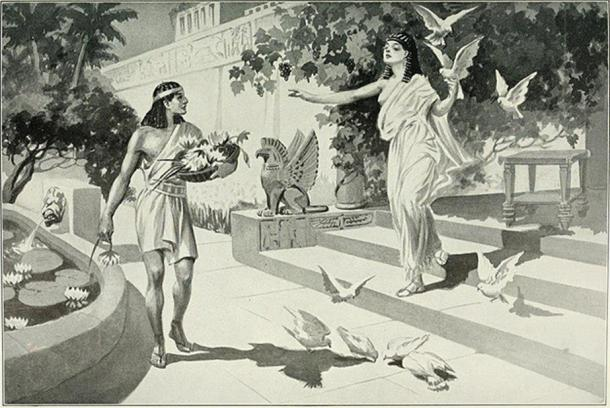 """""""The Legend of Sargon (The Goddess Ishtar Appears to Sargon, the Gardener's Lad)"""" by the artist, Edwin J. Prittie. (The Commons)"""