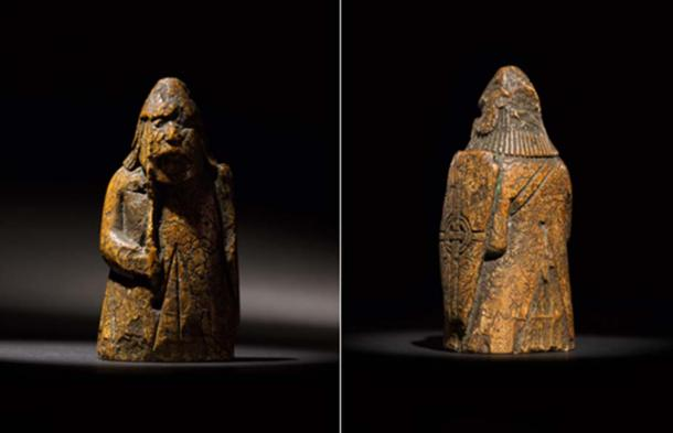 The Lewis Chessmen pawns are from 3.5 inches (8 centimeters) high. (Courtesy of Sotheby's)