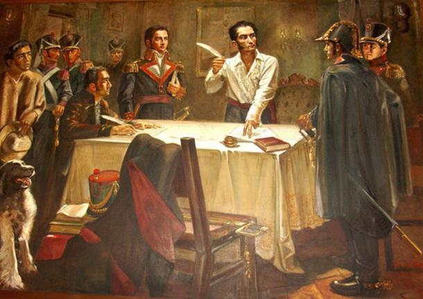 The Liberator Simón Bolívar signing the Decree of War to Death. (Ylmer / Public Domain)