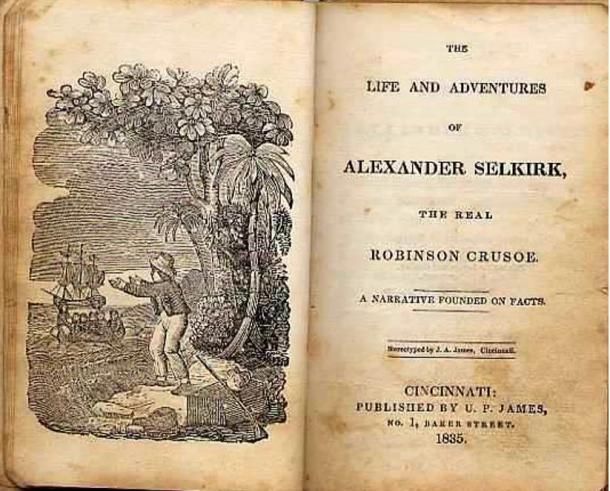 Title page of the book The Life and Adventures of Alexander Selkirk, the Real Robinson Crusoe (1835).