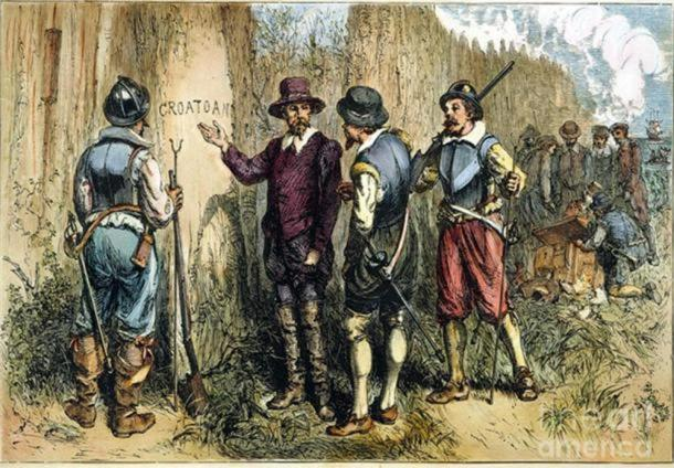 """The Lost Colony,' a painting by Granger, shows John White returning to Roanoke Island and finding the word ""Croatoan"" carved on post."