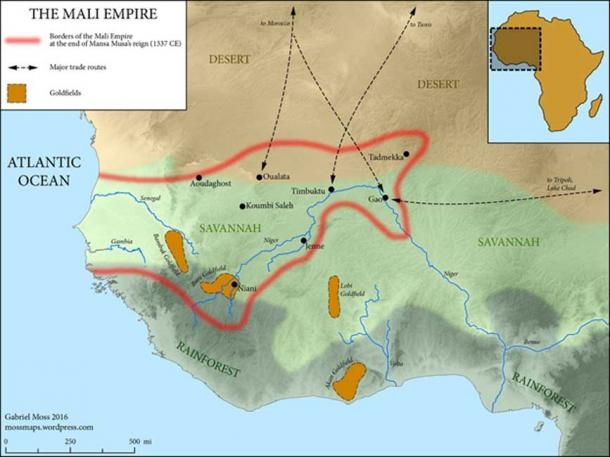 The Mali Empire at the end of Mansa Musa's reign 1337. (Mossmaps / CC BY-SA 4.0)