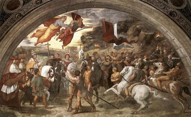 The Meeting of Leo the Great and Attila. (1514) By Raphael.