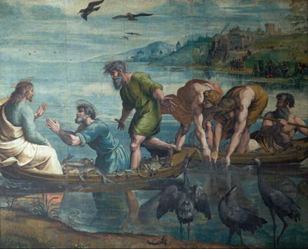 The Miraculous Draught of Fishes, 1515, one of the seven remaining Raphael Cartoons for tapestries for the Sistine Chapel.