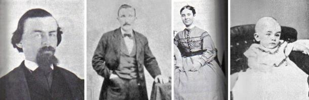The Missing Crew of the Mary Celeste. From Left to Right: Benjamin Briggs, Captain of Mary Celeste; Albert C. Richardson, First mate; Sarah Briggs, wife of Benjamin Briggs; Sophia Briggs, daughter of Benjamin and Sarah Briggs