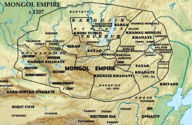 The Mongol Empire of around 1207; note that the Merkit (Mergid) people are near the center of the map of that year. (Creative Commons/Map by Khiruge)