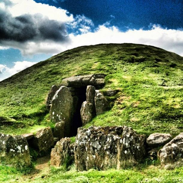The Neolithic monument and burial chamber, Bryn Celli Ddu in Wales.