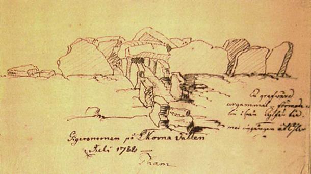 "The Neolithic passage grave, ""Girommen"" (Pehr Tham, 1782) (Public Domain)"