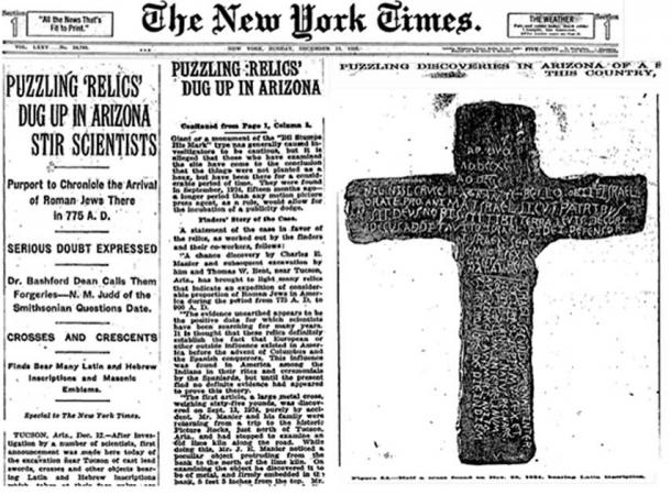 The New York Times ran an article when the Tucson Artifacts (also known as The Silverbell Crosses) where found. (Geburahs Secret / YouTube)