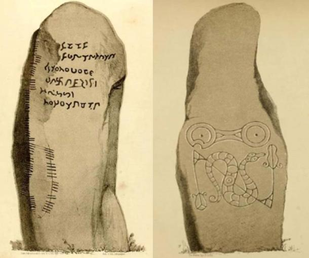 The Newton Stone and accompanying stone with a Pictish symbol. (John Stuart, Sculptured Stones of Scotland (1856). Plates I, VIII)