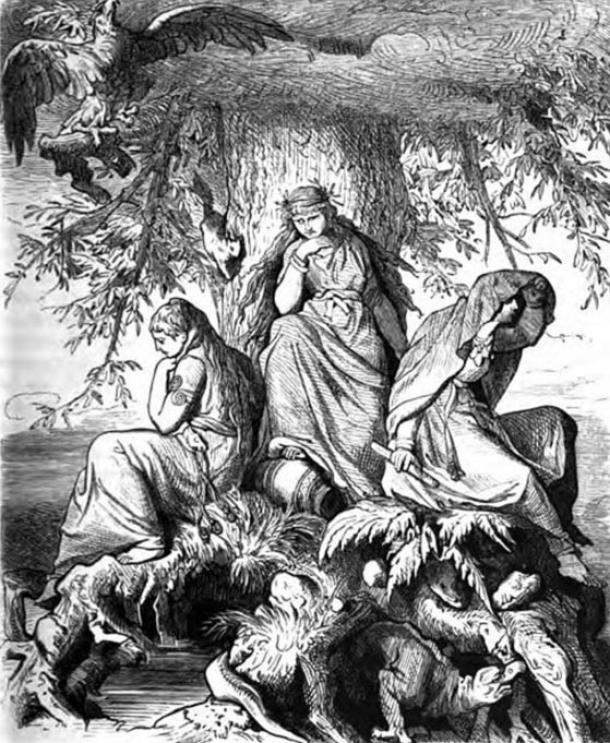 The Nornic trio of Urðr, Verðandi, and Skuld beneath the world tree. From Wägner, Wilhelm. 1882. '