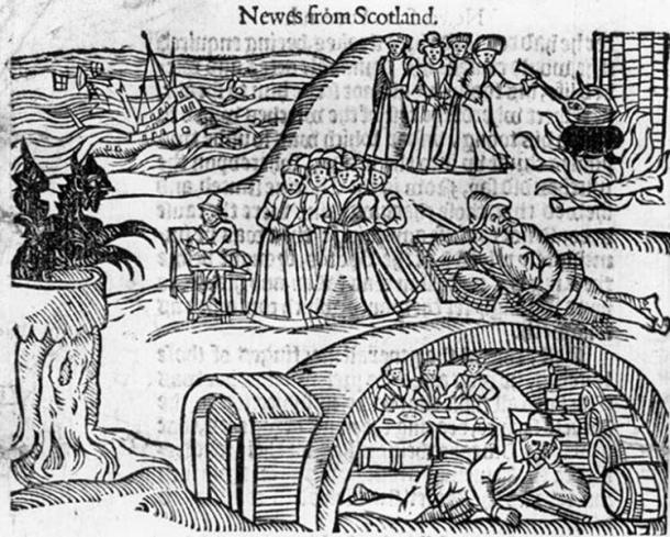 The North Berwick Witches meet the Devil in the local kirkyard, from a contemporary pamphlet, Newes from Scotland.