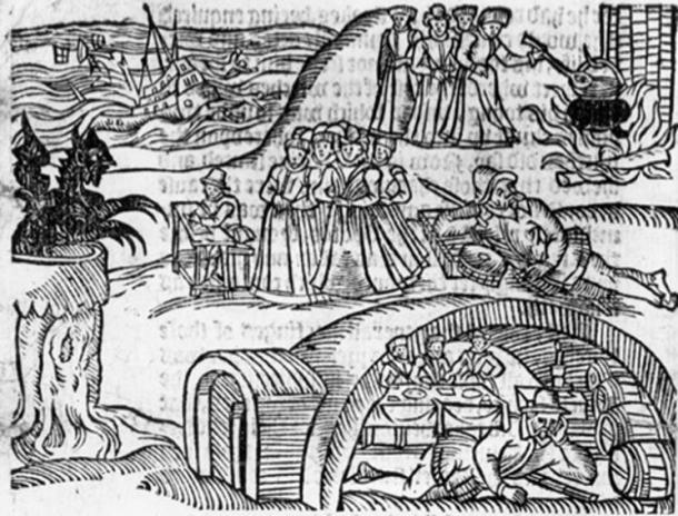 The North Berwick witches from a contemporary pamphlet, 'Newes From Scotland'. (Public Domain)