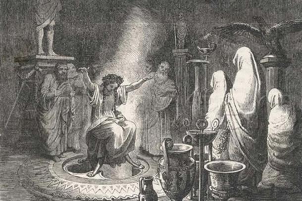 The Oracle of Delphi Entranced by Heinrich Leutemann (1824 – 1905) (Public Domain)