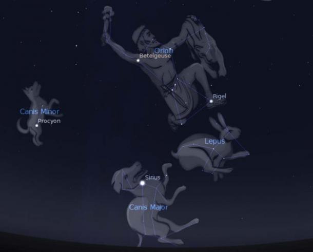 Representations of 'The Orion Entourage' created using Stellarium.