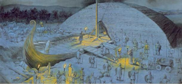 The Osberg funeral ceremony taking place in Vestfold in the year 834 AD. (Illustration: kulturarv.no)