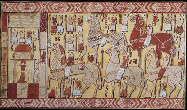 The Oseberg Tapestry – Right Side. (Watercolor Reconstruction: Mary Storm / Photo: Museum of Cultural History, Oslo)