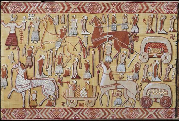 The Oseberg Tapestry – Left Side.  (Watercolor Reconstruction: Mary Storm / Photo: Museum of Cultural History, Oslo)