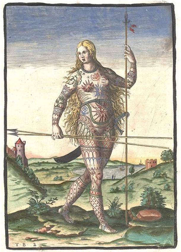 """""""The Painted Ones"""": Hand-colored version of Theodor de Bry's engraving of a Pict woman"""