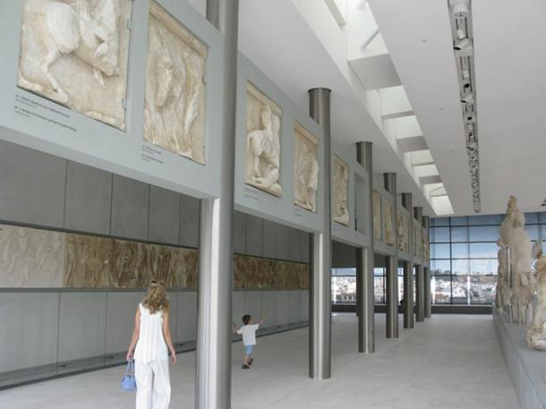 The Parthenon Marbles, most of them plaster casts as the originals are in London, on display in the New Acropolis Museum in Athens.
